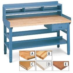 Workbench with lockable drawer and shelves