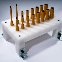 Holding Tray with anti-mutilation covering sockets, bits, & drives