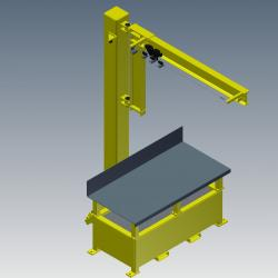 workstation crane - Workbench with Integrated Jib Crane Digital Rendering Front-angle View