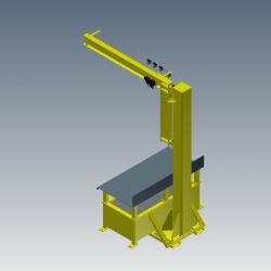 workstation crane - Workbench with Integrated Jib Crane Digital Rendering Rear-angle View