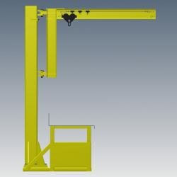 workstation crane - Workbench with Integrated Jib Crane Digital Rendering Side View